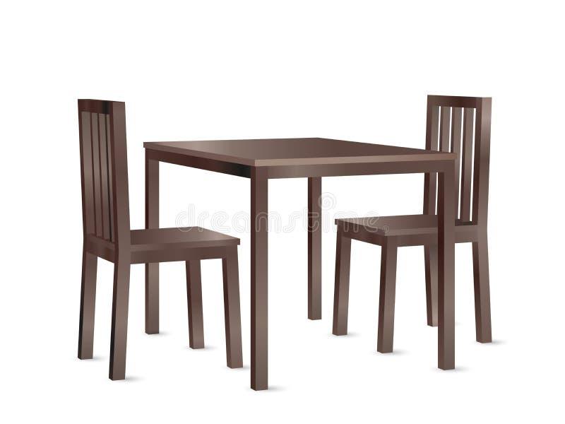 De realistische vector van de perspectiefmening van een houten eettafel en twee stoelen stock illustratie