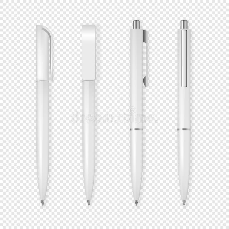 De realistische vector witte reeks van het penpictogram Collectieve identiteit en brandmerkende kantoorbehoeften Close-up op tran royalty-vrije illustratie