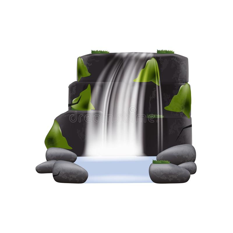 De realistische vectordieillustratie van de waterval draperende stroom op transparant wordt geïsoleerd royalty-vrije illustratie