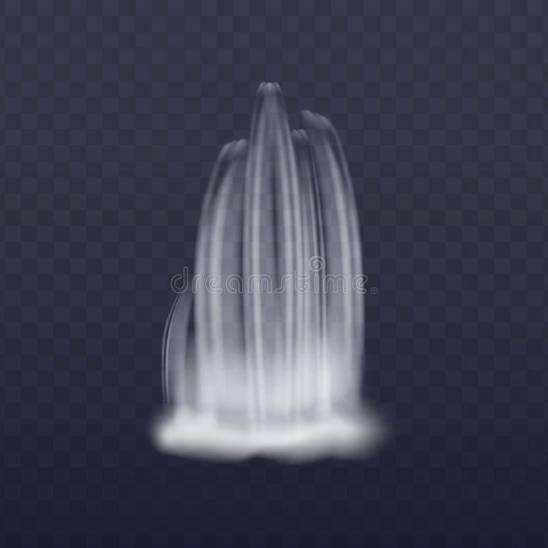 De realistische vectordieillustratie van de waterval draperende stroom op transparant wordt geïsoleerd stock illustratie