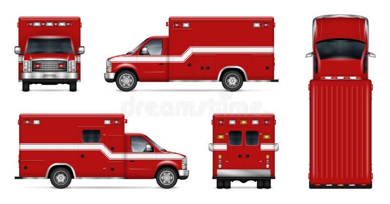 De realistische vectorillustratie van de brandmotor stock illustratie
