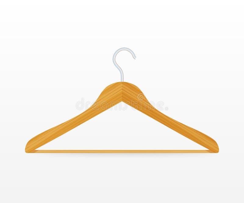 De realistische vectorkleren bedekken houten hanger dichte omhooggaand met een laag ge?soleerd op witte achtergrond Vector voorra stock illustratie