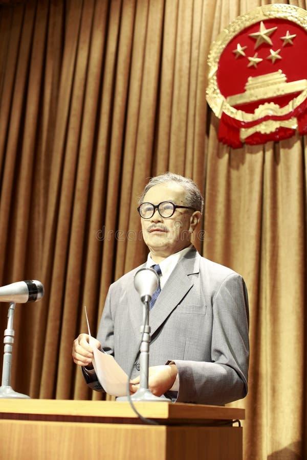 De recente Chinese cppccondeugd - voorzitterstan sprak op de vergadering stock foto's