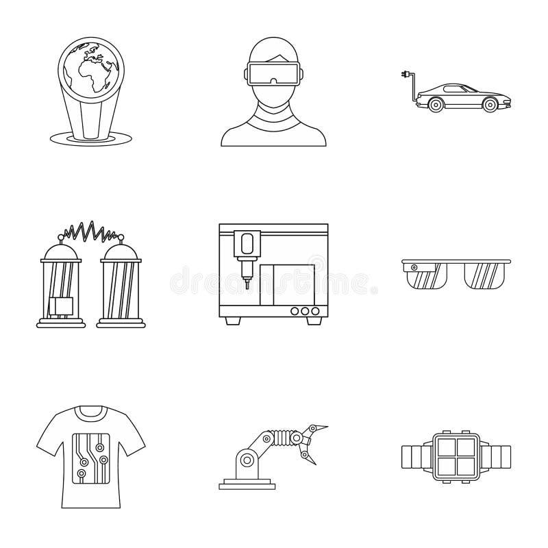 De recentste elektronische geplaatste apparatenpictogrammen, schetsen stijl stock illustratie