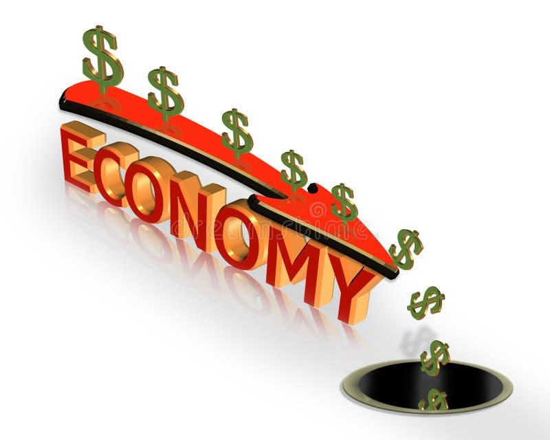 De recessie 3D Grafisch van de Crisis van de economie royalty-vrije illustratie