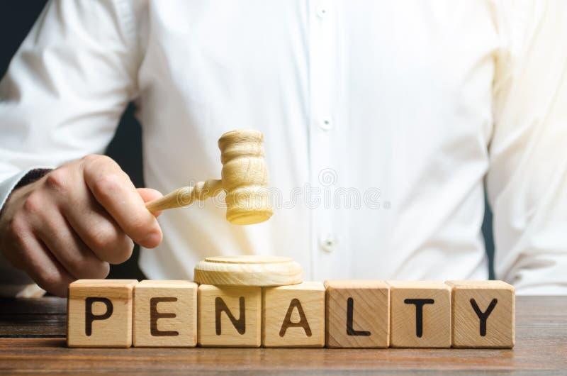 De rechter is verplicht om een boete of een boete te betalen De proef, rechtvaardigheid Beroep tegen een boete Drijfinbreuk of im royalty-vrije stock foto's