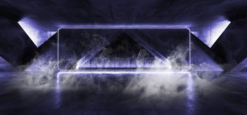 De Rechthoekkader Gestalte gegeven Neon van FI van rooksc.i Fluorescente Trillende het Gloeien Blauwe Lichten in Reusachtig Donke vector illustratie