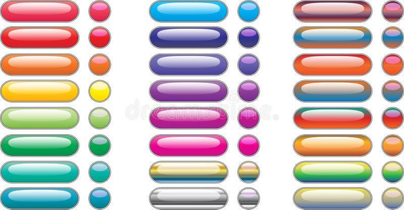 De rechthoekknopen van het menu voor kleurrijk Web royalty-vrije illustratie