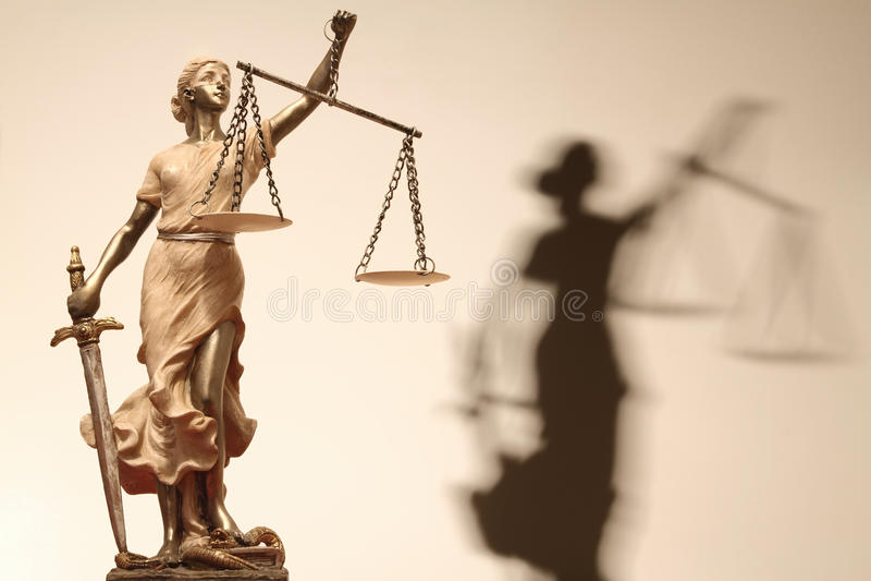 De rechtvaardigheid is blind (? of misschien niet) stock afbeeldingen