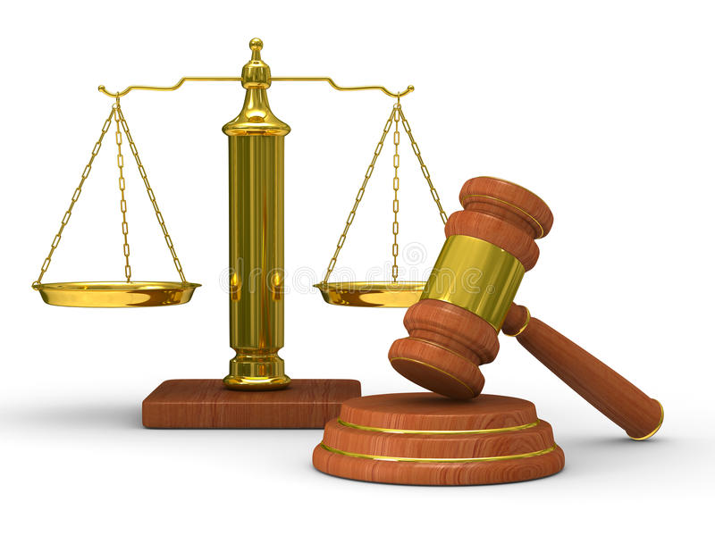De rechtvaardigheid en de hamer van schalen op witte achtergrond royalty-vrije illustratie