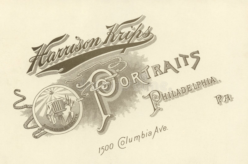 De Reclame van de fotograaf, Circa 1880 royalty-vrije stock afbeelding