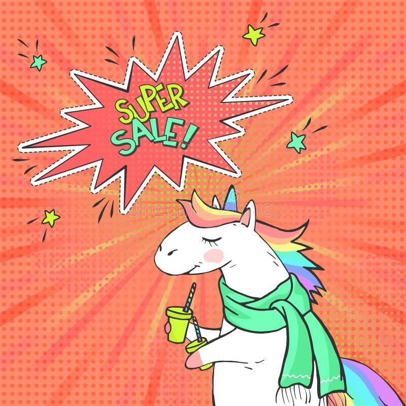 De reclame van pop-artaffiche met hand getrokken magische eenhoorn in retro grappige stijl Toespraakbel met tekst SUPER VERKOOP stock illustratie