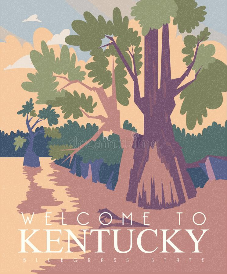 De reclame van vectorbanner van reis aan Kentucky, Verenigde Staten stock illustratie