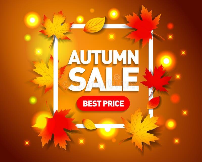 De reclamemalplaatje van de de herfstverkoop Van het de achtergrond herfstseizoen kader met dalende de herfstbladeren Geïsoleerde vector illustratie