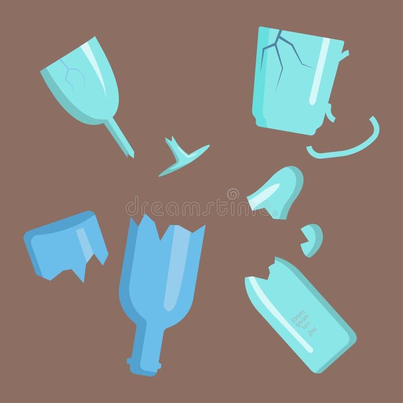De recyclerende industrie van het het glasbeheer van huisvuilelementen afval gebroken gebruikt concept en de afvalecologie kan re vector illustratie