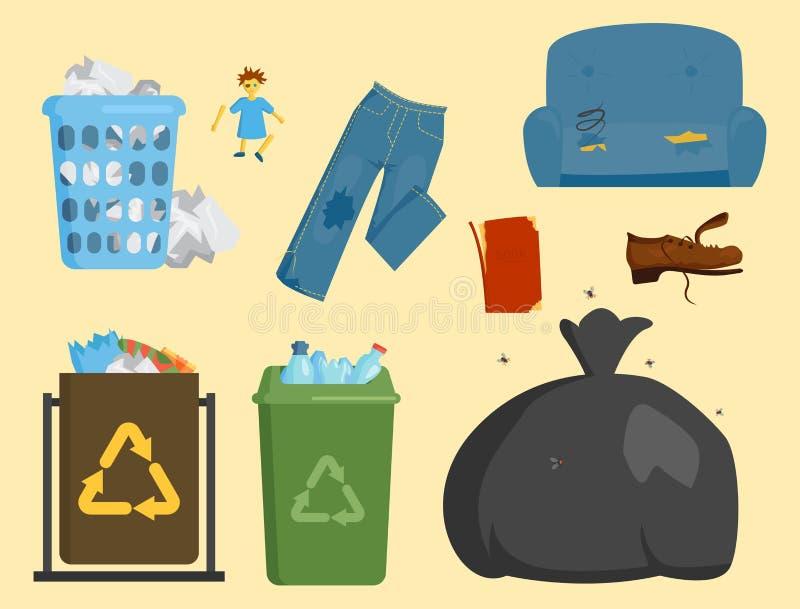 De recyclerende van de vuilniszakkenbanden van huisvuilelementen het beheersindustrie gebruikt concept en de afvalecologie kan re vector illustratie