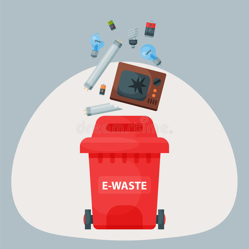 De recyclerende van het afvalbanden van huisvuilelementen het beheersindustrie gebruikt e-afval kan vectorillustratie royalty-vrije illustratie