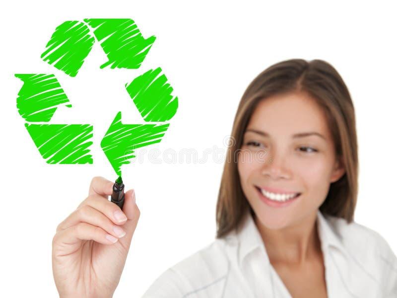 De recyclerende vrouw van de tekentekening stock fotografie