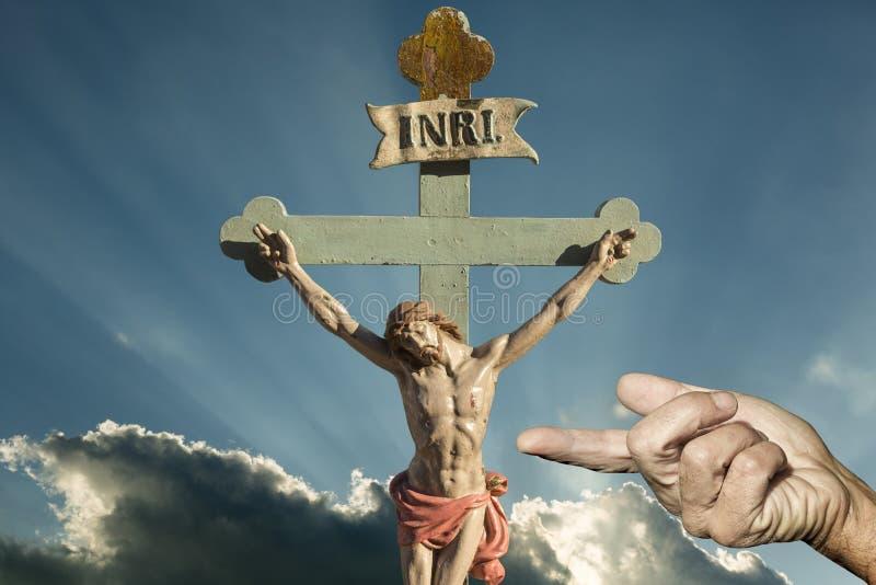 De redder van Jesus Christ INRI van Christenen stock fotografie