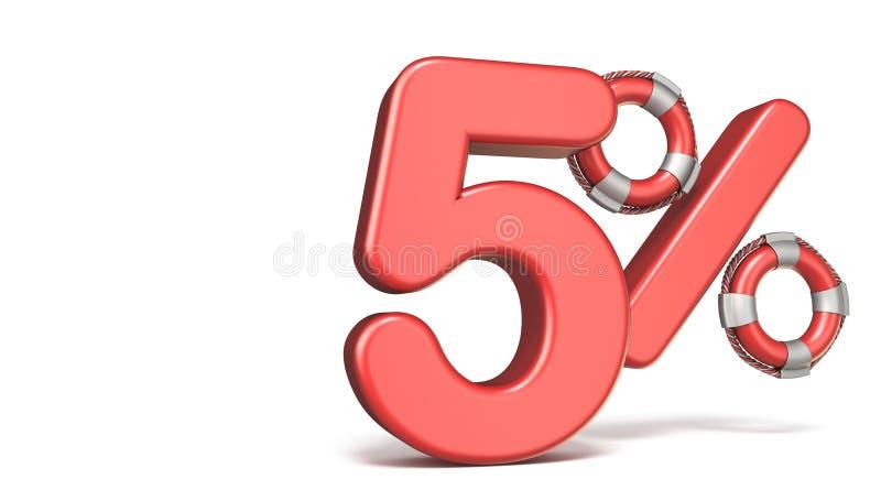De reddingsboei 5 3D percententeken geeft illustratie terug royalty-vrije illustratie