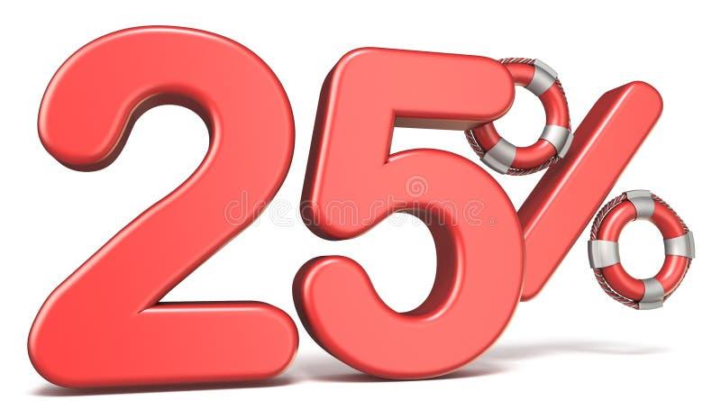 De reddingsboei 25 3D percententeken geeft illustratie terug royalty-vrije illustratie