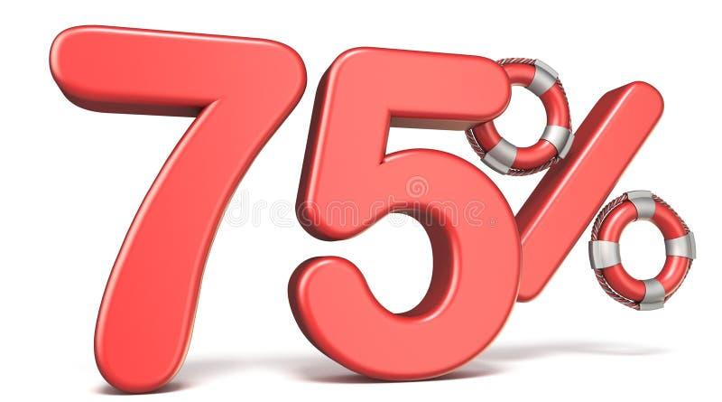De reddingsboei 75 3D percententeken geeft illustratie terug royalty-vrije illustratie