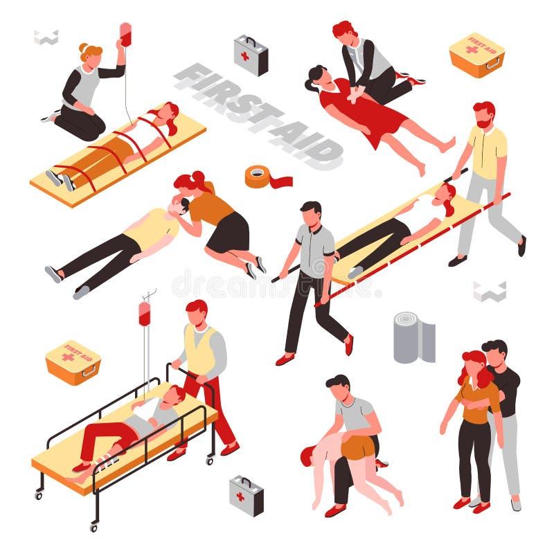 De reddingsverwonding van eerste hulpmaatregelen of hartaanval vector illustratie