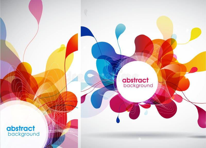 De reeks abstracte gekleurde achtergronden met doorbladert royalty-vrije illustratie