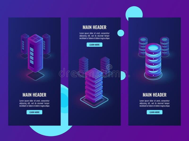 De reeks banners, het rek van de serverruimte de isometrische vector, voorzien van een netwerkgebied, gegevens centreert, betrekt stock illustratie