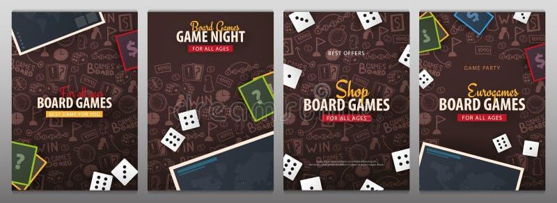 De reeks banners van Raadsspelen met dobbelt, speelkaarten en kaart De hand trekt krabbelachtergrond Vector illustratie royalty-vrije illustratie