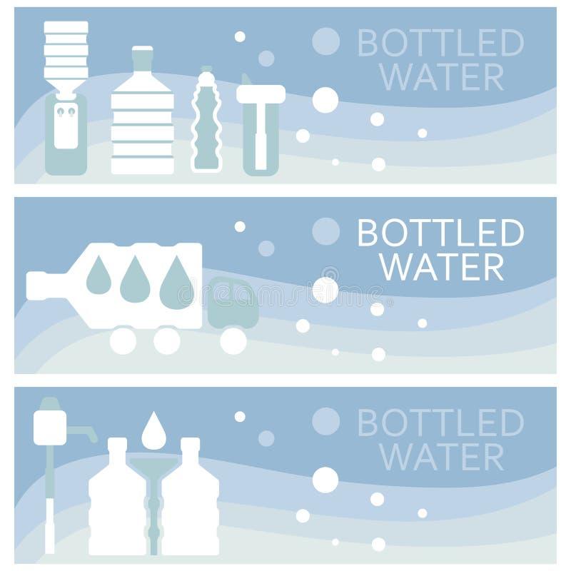 De reeks banners voor thema bottelde vlak ontwerp Vector stock illustratie