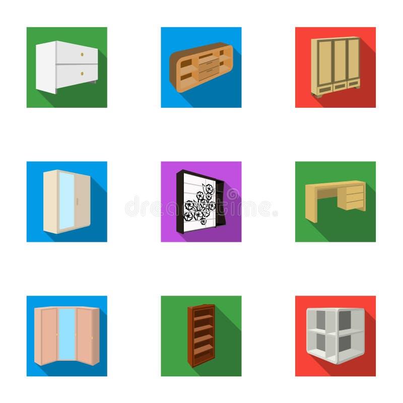 De reeks beelden op het thema van slaap en rust Verschillende bedden voor elke smaak en kleur Bedpictogram in vastgestelde inzame stock illustratie