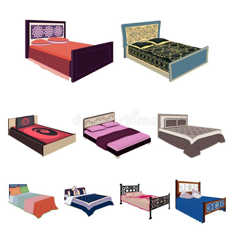 De reeks beelden op het thema van slaap en rust Verschillende bedden voor elke smaak en kleur Bedpictogram in vastgestelde inzame vector illustratie