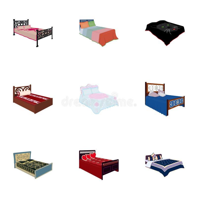 De reeks beelden op het thema van slaap en rust Verschillende bedden voor elke smaak en kleur Bedpictogram in vastgestelde inzame royalty-vrije illustratie