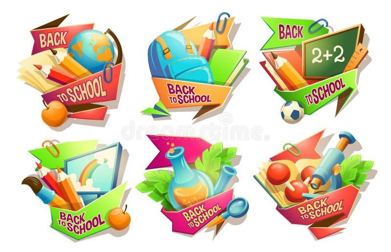 De reeks beeldverhaalillustraties, kentekens, stickers, emblemen, kleurde pictogrammen van schoollevering vector illustratie