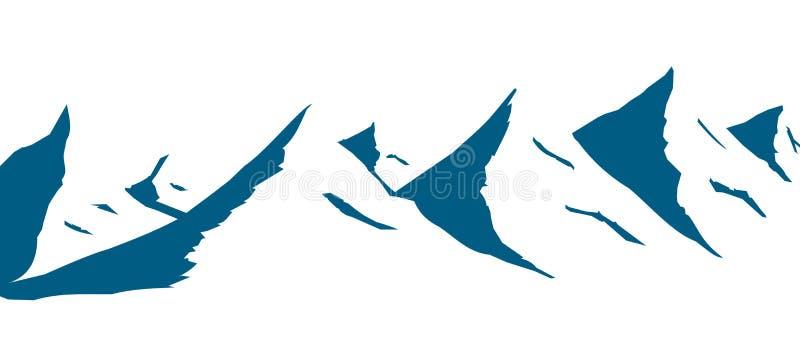 De reeks bergen trekt in blauw vector illustratie
