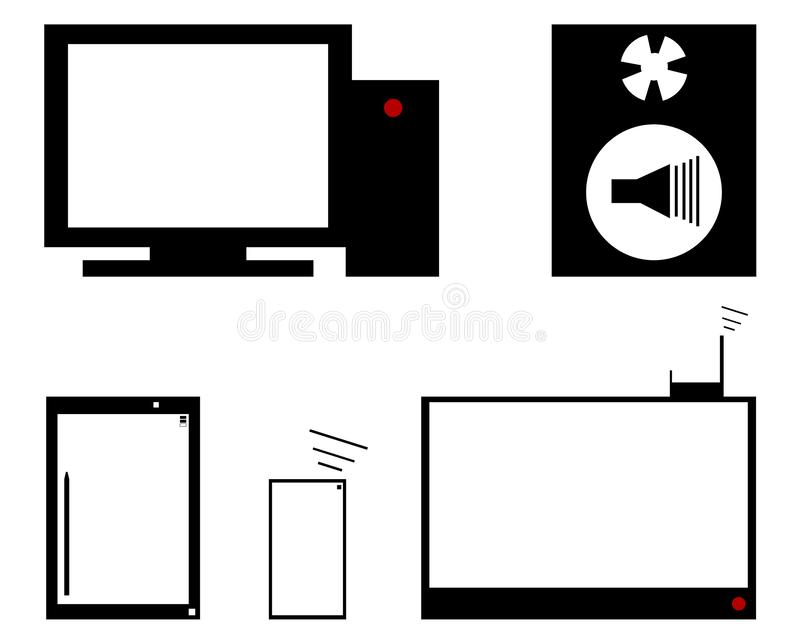 De reeks bestaat uit een computer, een systeemeenheid en een elektronische tablet Er is nog een TV stock illustratie