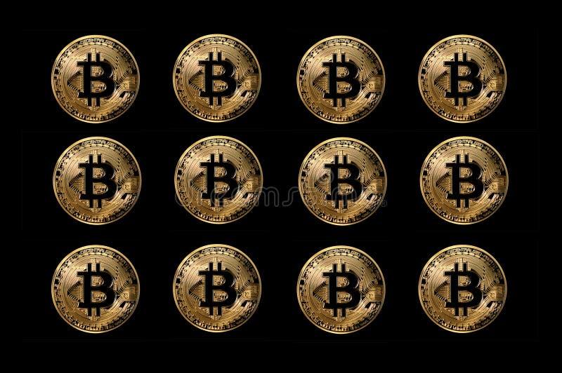 De reeks bitcoinmuntstukken, digitale munt leidde tot voor gebruiks online anonieme transacties vector illustratie