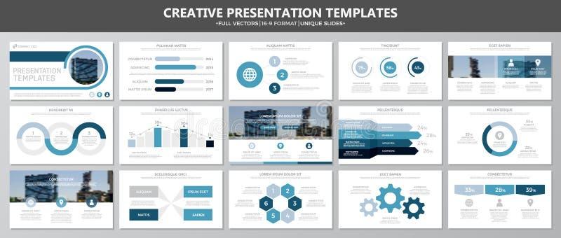 De reeks blauwe elementen voor multifunctioneel presentatiemalplaatje glijdt met grafieken en grafieken Pamflet, collectief rappo stock illustratie