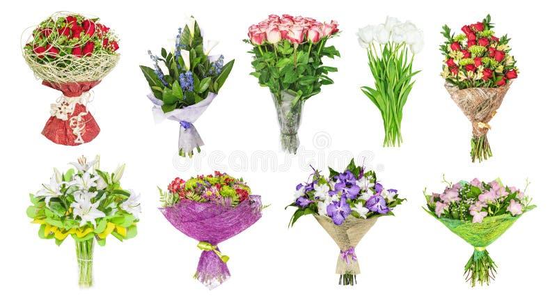 De reeks boeketten van bloemen, tulpen stock fotografie