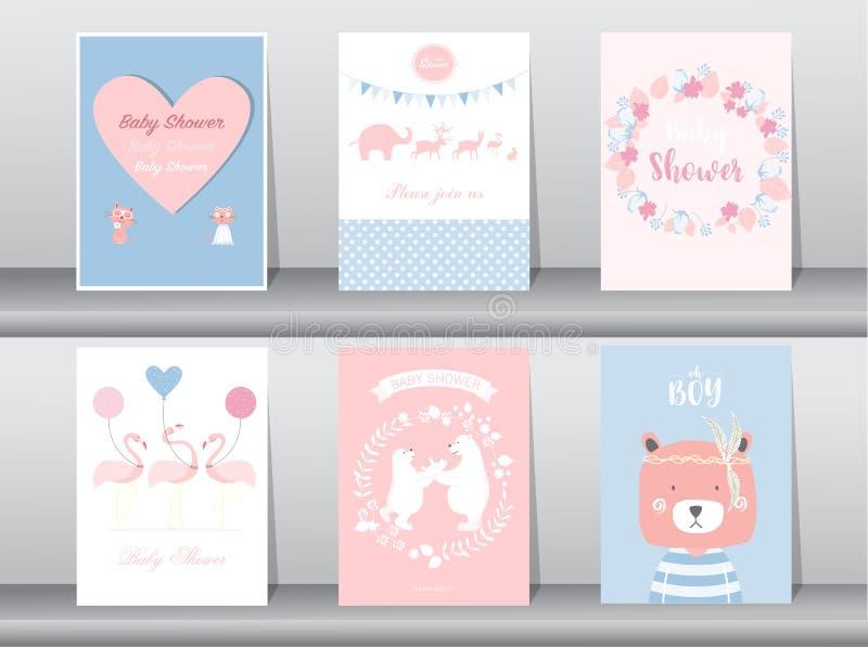 De reeks de uitnodigingenkaarten van de babydouche, affiche, groet, malplaatje, dier, draagt, flamingo, Vectorillustraties royalty-vrije illustratie