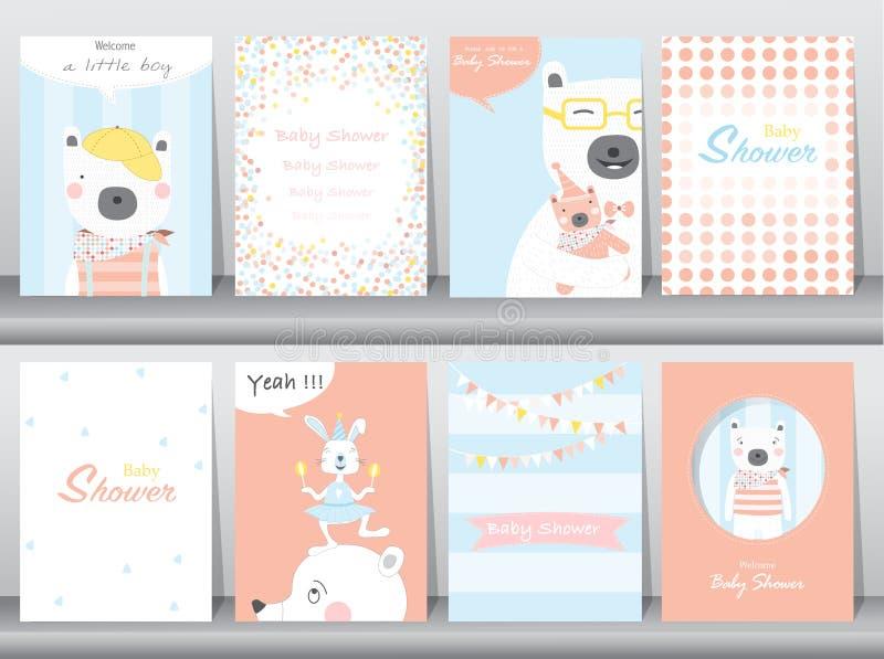 De reeks de uitnodigingskaarten van de babydouche, verjaardag, affiche, malplaatje, groetkaarten, leuke dieren, draagt, Vectorill royalty-vrije illustratie