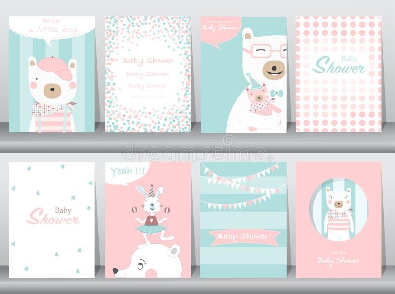 De reeks de uitnodigingskaarten van de babydouche, verjaardag, affiche, malplaatje, groetkaarten, leuke dieren, draagt, Vectorill vector illustratie