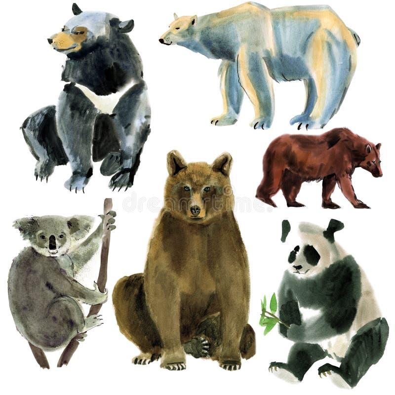De reeks dieren draagt Waterverfillustratie op witte achtergrond royalty-vrije illustratie
