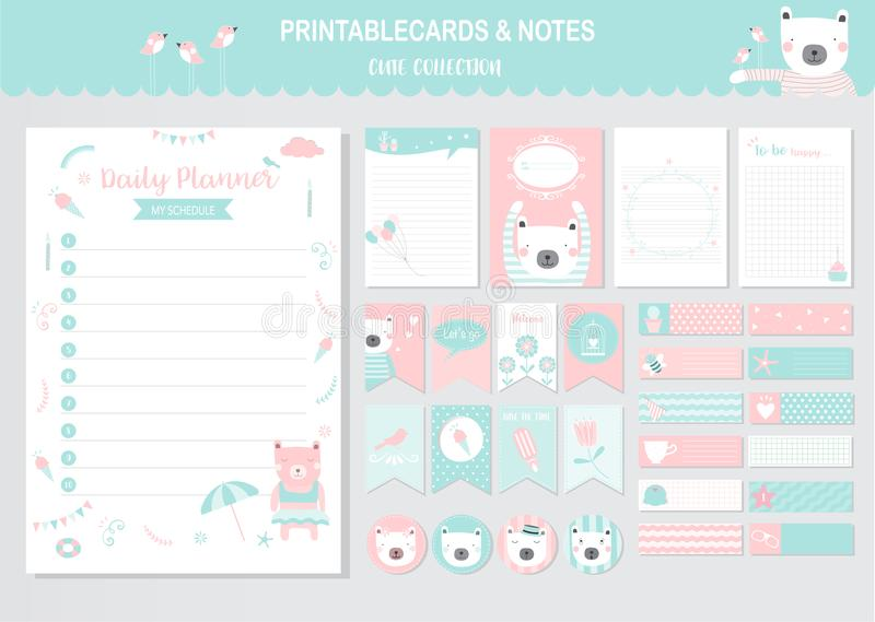 De reeks dieren en leuke kaarten, draagt, voor het drukken geschikt, de zomermarkeringen, kaarten, malplaatjes, Nota's, Stickers, royalty-vrije illustratie