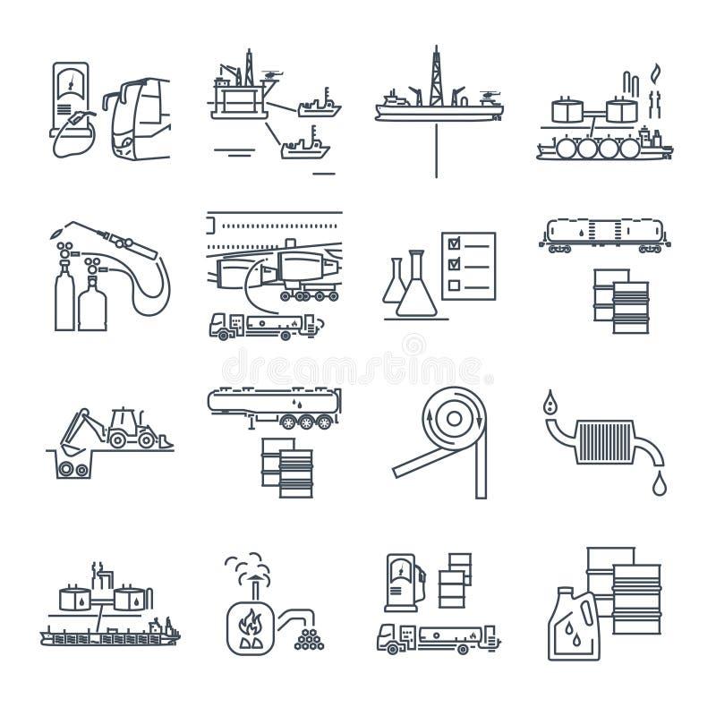 De reeks dunne lijnpictogrammen voorziet, gas, olievervoer, productie van brandstof vector illustratie