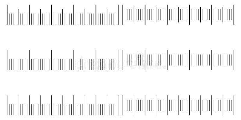 De reeks is een naadloze schaal voor een analoge meter, vectormalplaatjeschalen in eenheden van millimeter, centimeter, mm, cm royalty-vrije illustratie