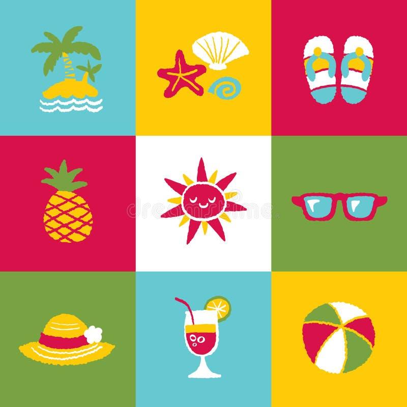 De Reeks en de Tekens van het de zomerpictogram stock illustratie