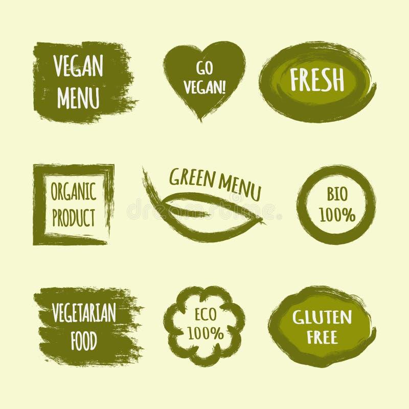 De reeks etiketten met tekst gaat Veganist, Vers, Groen Menu, Organische Pro royalty-vrije illustratie