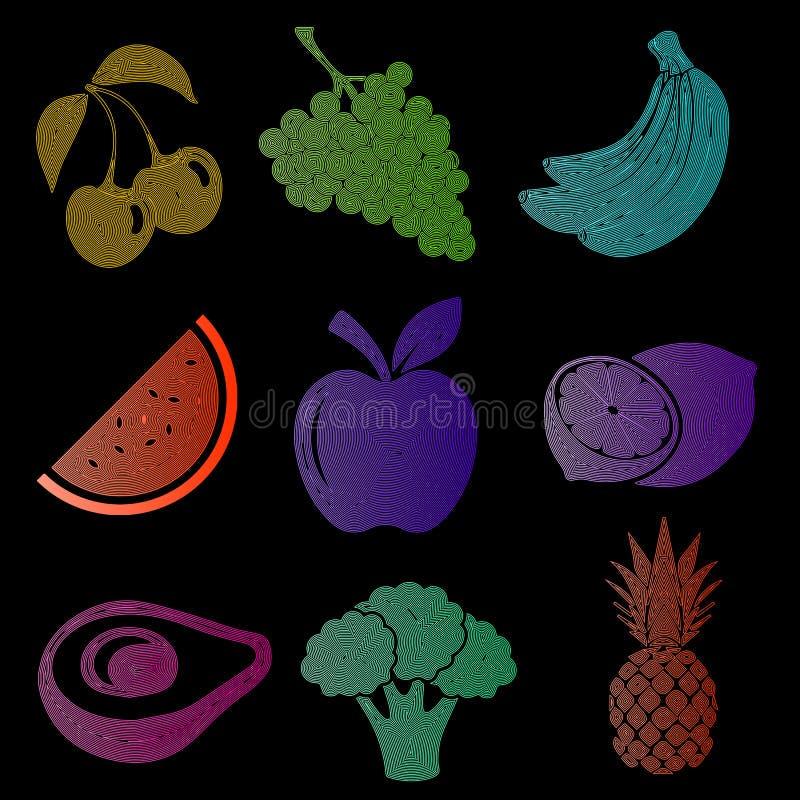De reeks fruitpictogrammen, fruitsilhouet, kleurde vruchten op een zwarte achtergrond, kers, druiven, banaan, watermeloen, appel vector illustratie